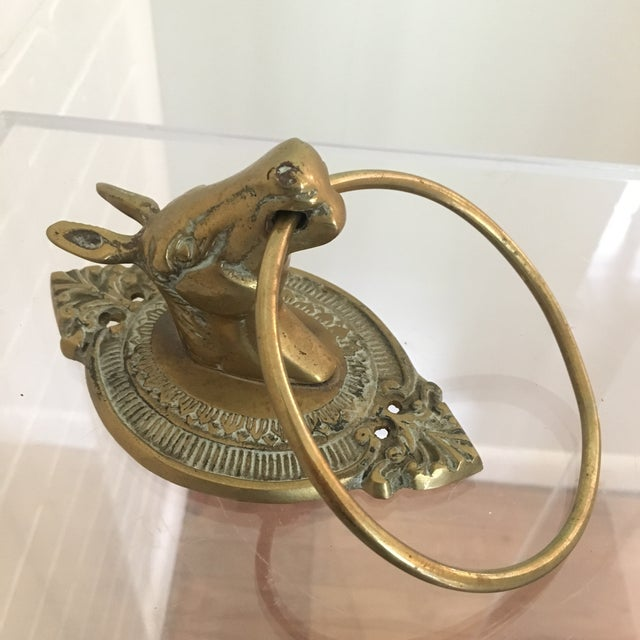 Mid 20th Century Pair of Vintage Brass Horse Towel Rings For Sale - Image 5 of 7