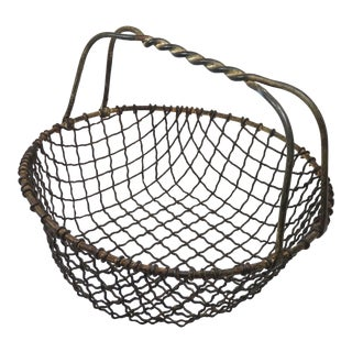 Antique American Wrought Iron Clam Gathering Basket For Sale