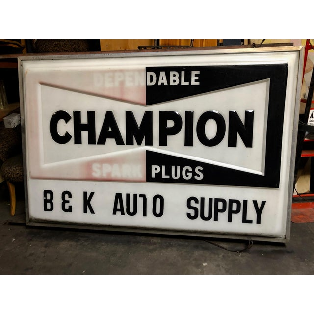 Vintage Everbrite Industrial Metal-Framed Double-Sided Champion Auto Supply Service Sign For Sale - Image 10 of 10