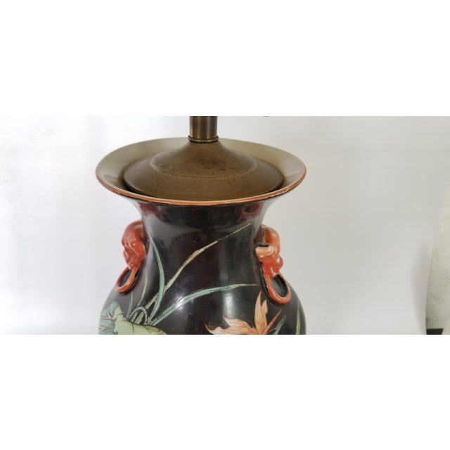 Vintage Chinese Porcelain Famille Noire Lamp For Sale - Image 10 of 12