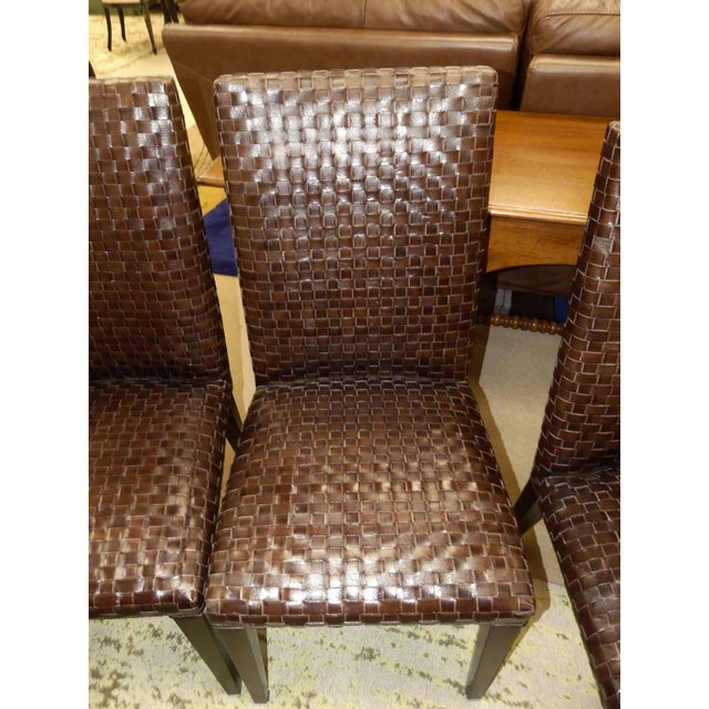 Wood Stone International Modern Italian Woven Leather Dining Chairs- Set of 4 For Sale - Image 7 of 13