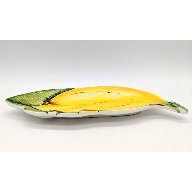 Italian Mid-Century Majolica Banana Platter For Sale - Image 4 of 8