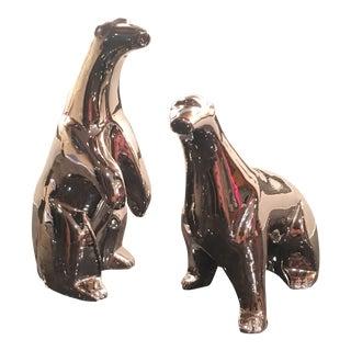 Pair of 1974 Jaru Chromed Ceramic Polar Bears For Sale