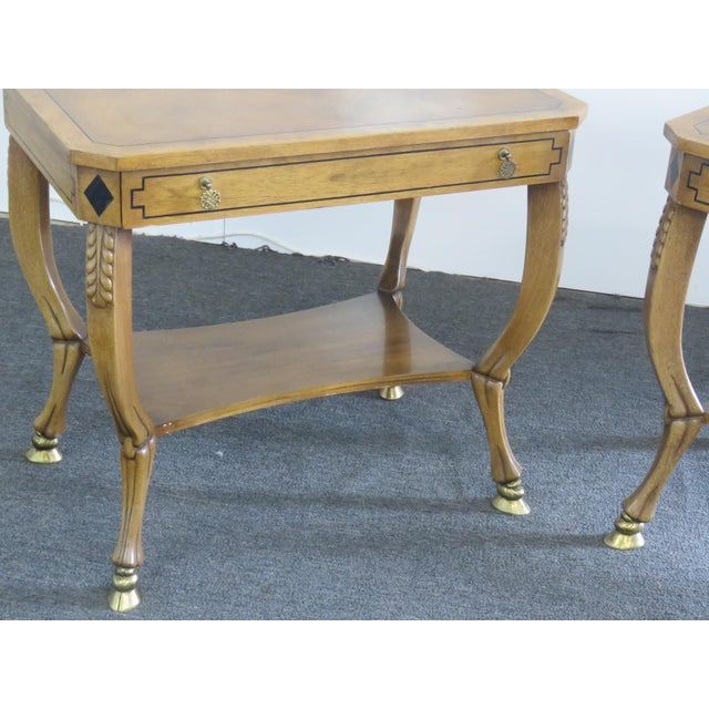 Hollywood Regency Pair of Regency Style End Tables For Sale - Image 3 of 13