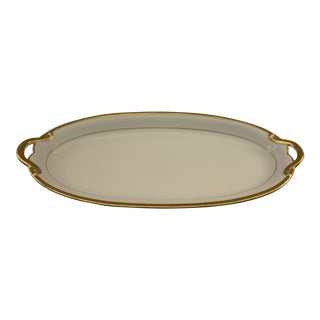 1911 Noritake RC Nippon White With Gold Trim and Handles China Platter For Sale