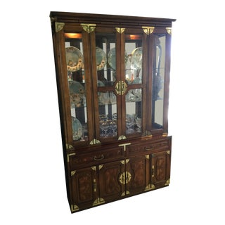 Vintage Bernhardt Campaign Asian Inspired Brass Glass Shelf China Cabinet Display For Sale