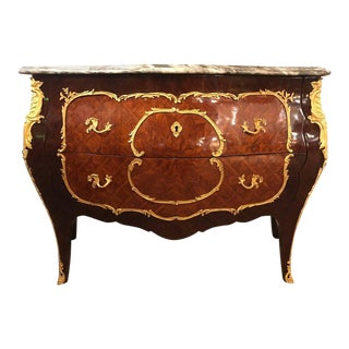 Vintage Bombe Parquetry Bronze Mounted Commode With Ogee Marble Top For Sale