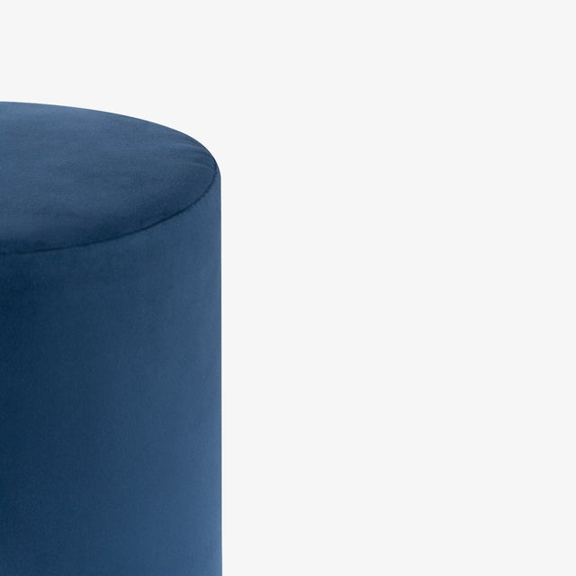 Contemporary Artifact Accent Ottomans in Navy Premium Faux Suede by Object Refinery- Pair For Sale - Image 3 of 6