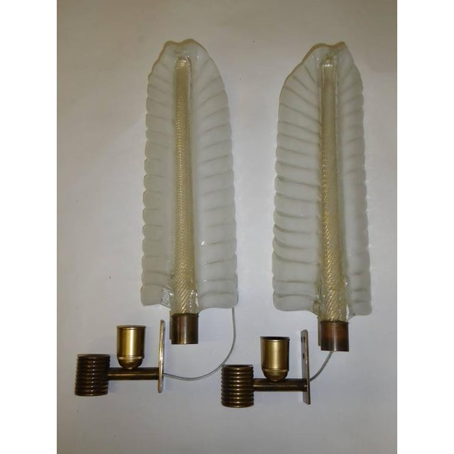 1940s Barovier e Toso Palm Leaf Sconces - a Pair For Sale In Miami - Image 6 of 8