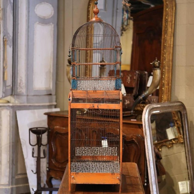 19th Century French Hand-Painted Carved & Wired Birdcage - Image 7 of 8