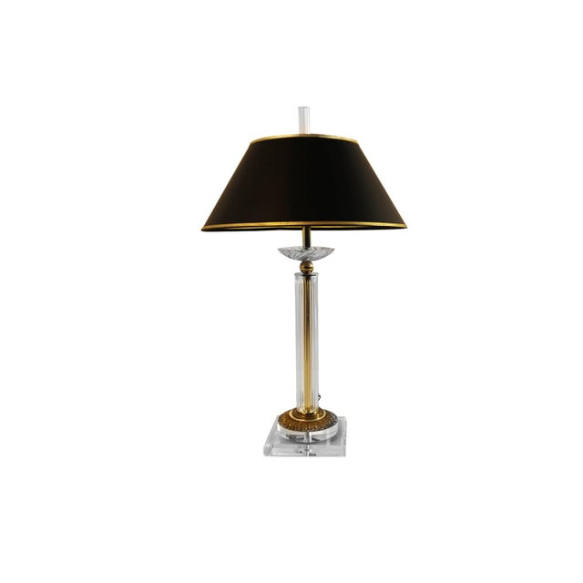 Bauer Lamp Company Lucite Brass and Glass Table Lamp For Sale - Image 12 of 12