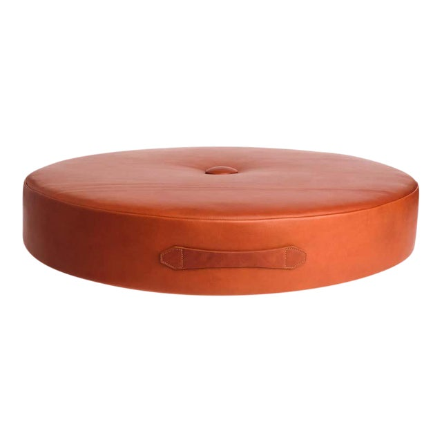 Leather Drum Stacking Floor Cushion in Caramel by Moses Nadel For Sale