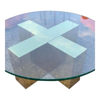 Stunning Vintage Brass X Base Coffee Table , Labeled Milo Baughman , Thayer Coggin For Sale