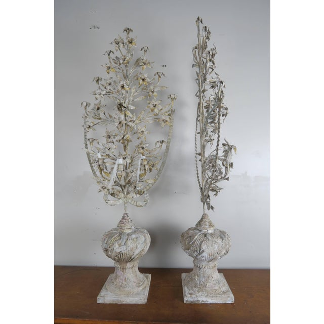 Rococo 1900s Vintage French Painted and Metal Bouquets of Flowers- a Pair For Sale - Image 3 of 10