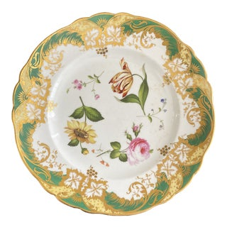 Early 19th Century Antique English Floral Cabinet Plate For Sale