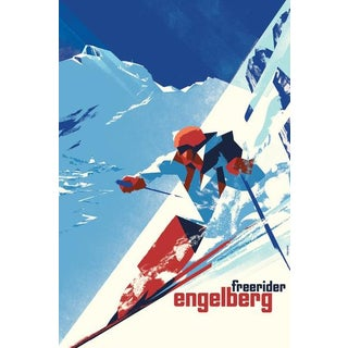 2016 Danish Modern Poster, Engelberg Winter For Sale
