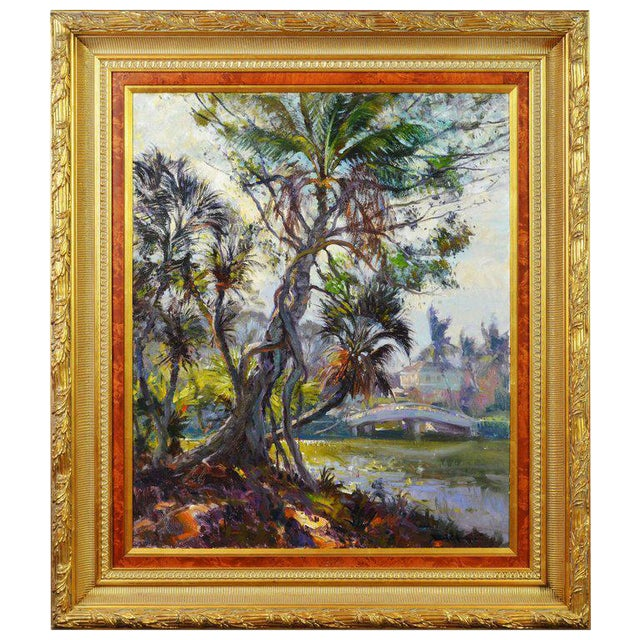 6f52efaba715  Tropical Naples View  Original Large Florida Oil Painting by Robert C.  Gruppe For.