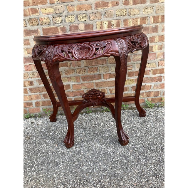 Traditional 20th Century Traditional Marble Top and Carved Mahogany Demilune Table For Sale - Image 3 of 13