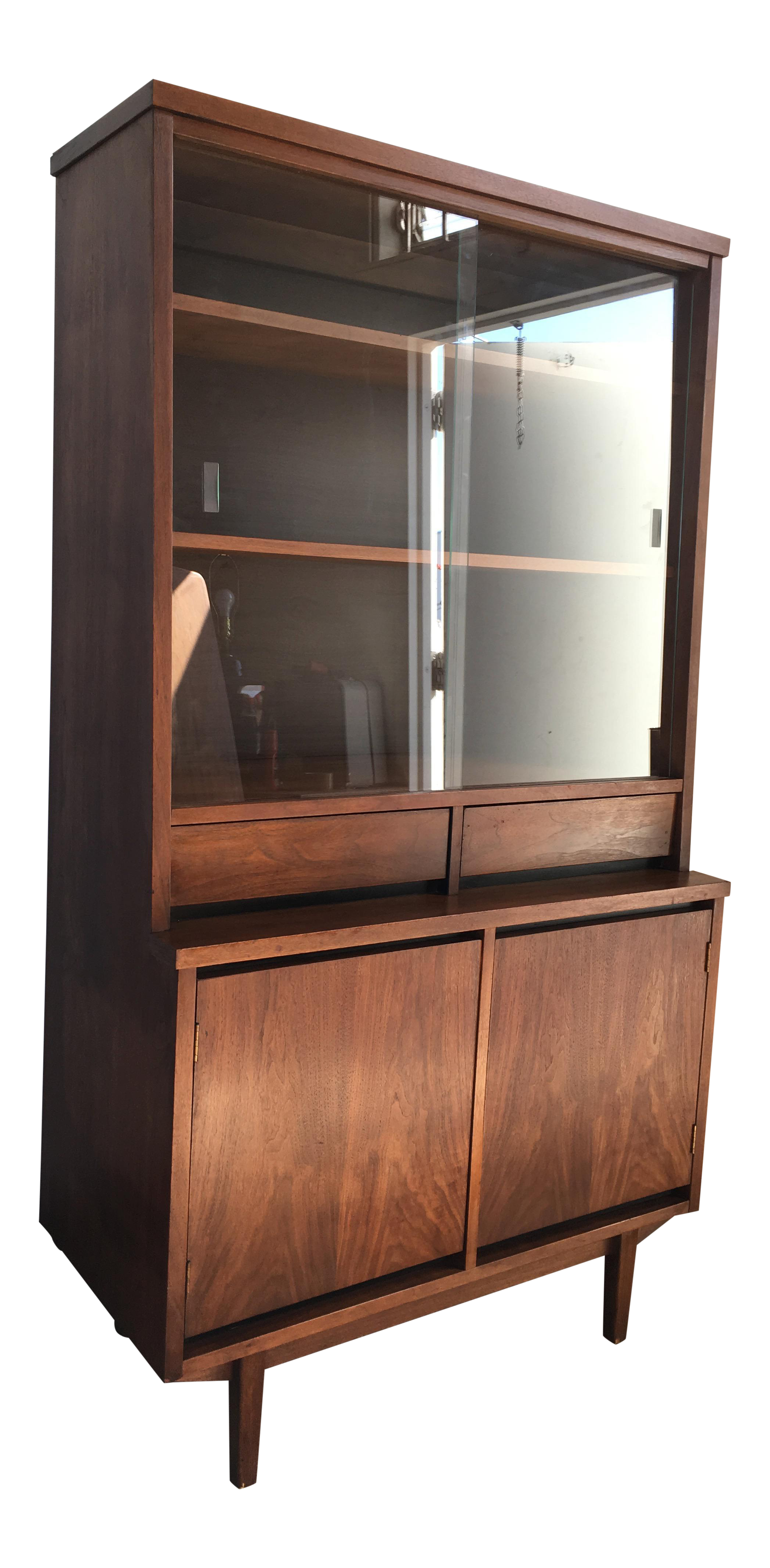 Picture of: Vintage Mid Century Modern Walnut China Hutch Cabinet By Stanley Furniture Chairish