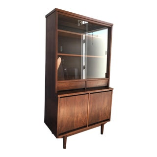 Vintage Mid Century Modern Walnut China Hutch Cabinet By Stanley Furniture.