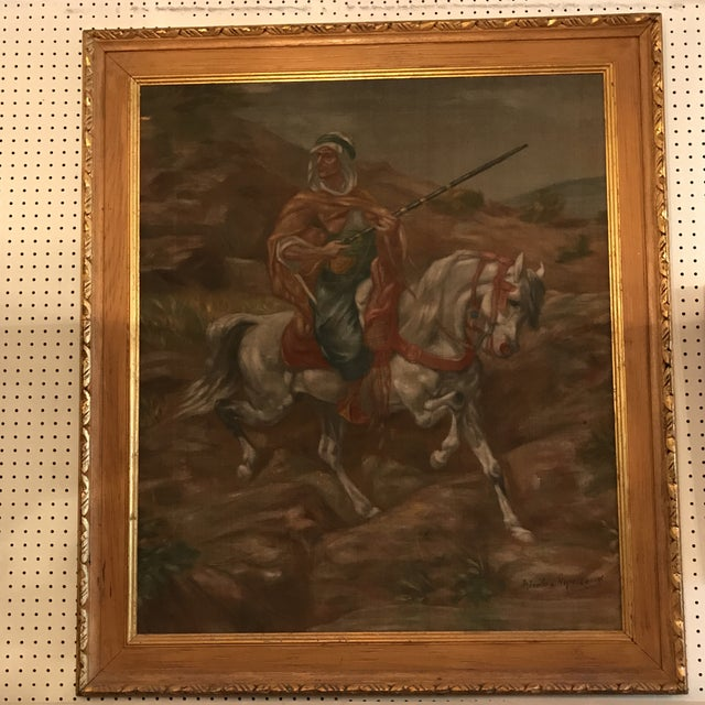 Oil on canvas painting by Nicolas Macsoud. Depicts a man dressed in traditional Arab garb mounted on a gallant white...