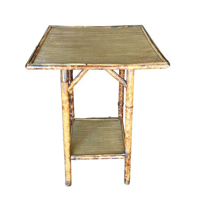Tiger Bamboo Pedestal Side Table with Slat Bamboo Top - Image 4 of 6