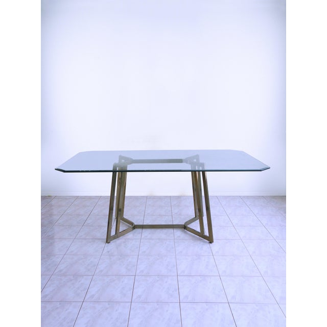 Mid-Century Modern Mastercraft Space Age Brass & Glass Dining / Conference Table For Sale In Chicago - Image 6 of 8