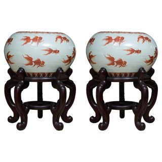 Chinese Porcelain Fish Bowls on Rosewood Stands For Sale