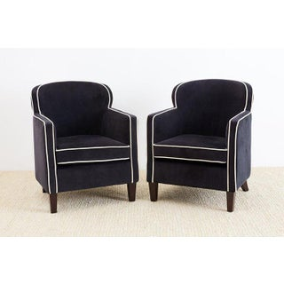 Art Deco Style Velvet Club Chairs-A Pair Preview