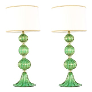 Late 20th Century Venetian Glass / Gold Flecks Table Lamps - a Pair For Sale