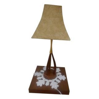 Mid-Century Danish Mod Walnut & Brass Tripod Lamp For Sale