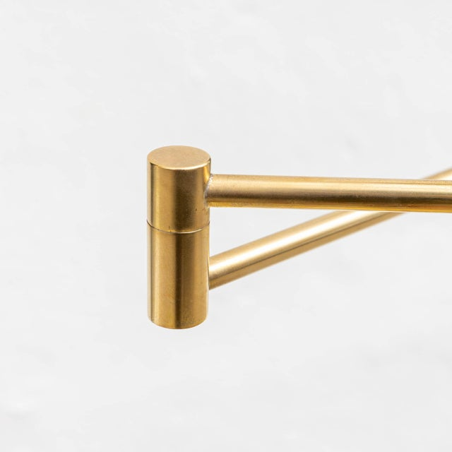 Mid 20th Century Vintage Brushed Brass Pharmacy Floor Lamp For Sale - Image 5 of 8