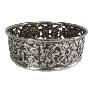 Vintage Silver-Plate Repousee Flower Wine Coaster For Sale