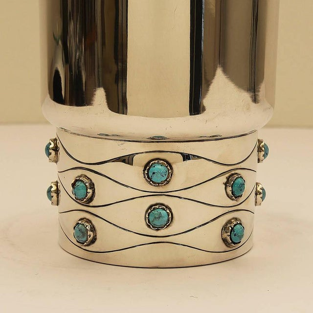 1950´s Sterling Silver Vase, turquoise enamels - Spain For Sale - Image 4 of 8
