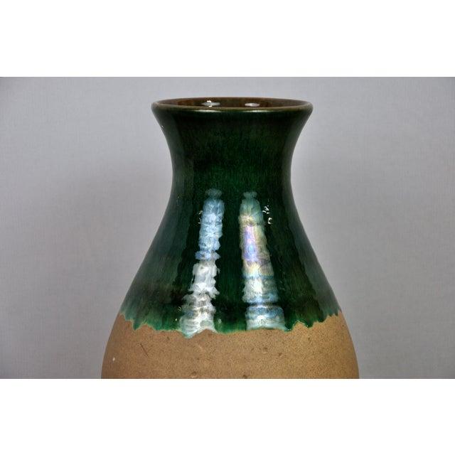 1970s Vintage West Germany Handmade Ceramic Vase With Green Glazed Detail For Sale - Image 5 of 13