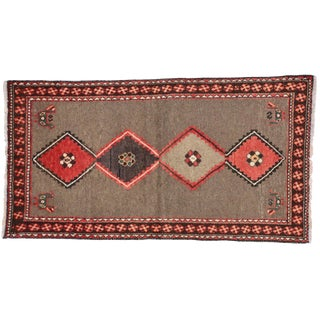 Vintage Persian Shiraz Modern Tribal Rug- 3′4″ × 6′2″ For Sale