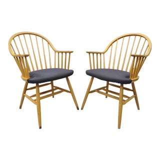 Loewenstein Spindle Back Windsor Style Wooden Chairs - a Pair For Sale