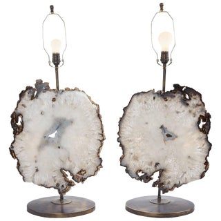 21st Century Pair of Authentic and Rare Large Agate Brass Lamps For Sale