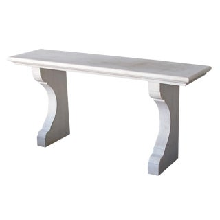 French Limestone Indoor / Outdoor Wall Console Table For Sale