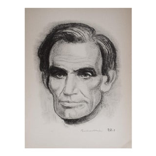 "1930's Vintage Black & White Lithograph ""Lincoln"" by Boardman Robinson"