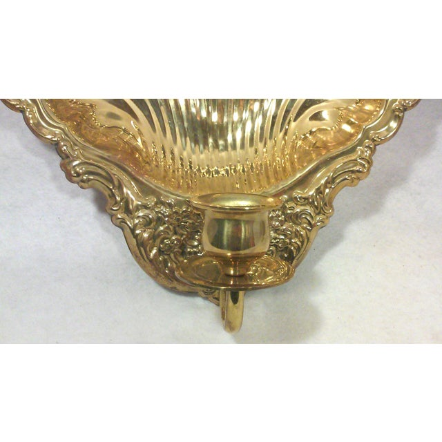 Solid Brass Shell Wall Candle Sconces - A Pair - Image 4 of 8