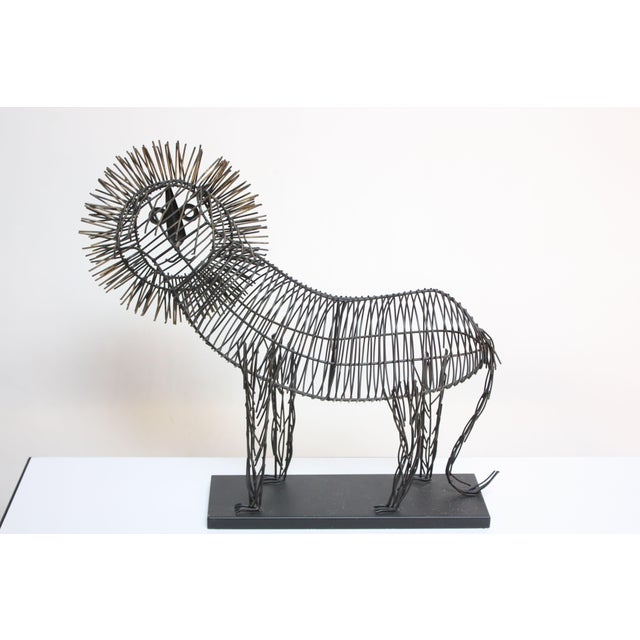 Metal Brutalist Style Lion Wire Scupture For Sale - Image 7 of 11