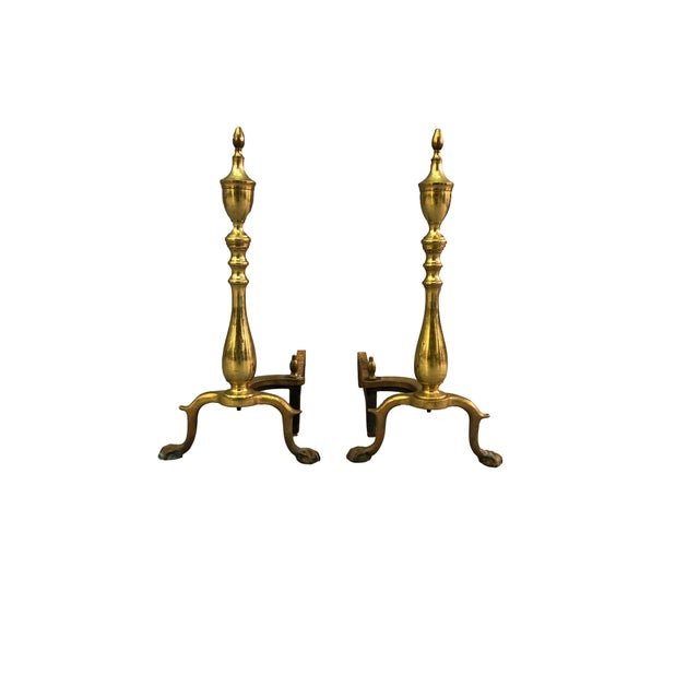 Chippendale-Style Brass Andirons - A Pair For Sale - Image 11 of 11