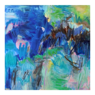 """Huka Falls"" by Trixie Pitts Large Abstract Expressionist Oil Painting For Sale"