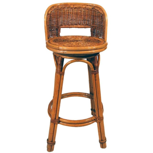 Mid-Century Modern Rattan Bar Stool Pair With Woven Wicker Seats, Set of Two For Sale - Image 3 of 5