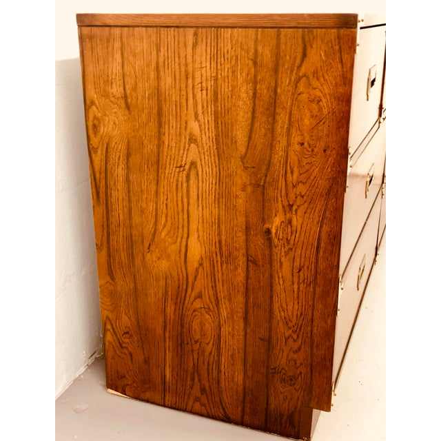 Mid 20th Century Vintage Bernhardt Campaign Chest of Drawers With Mirror For Sale - Image 5 of 10