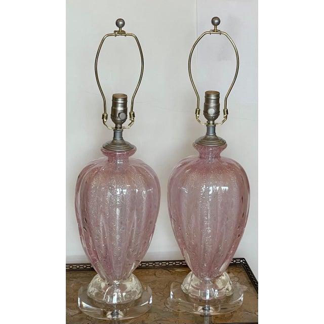 Mid Century Modern Seguso Murano Italian Art Glass Table Lamps