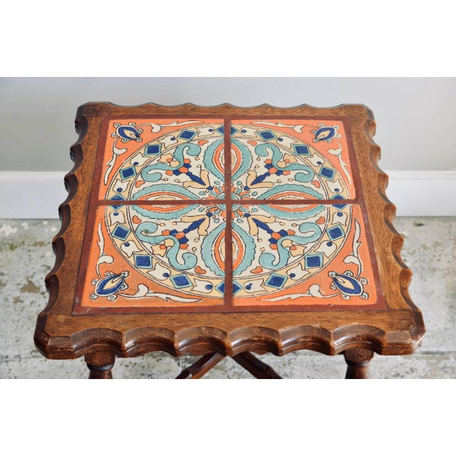 Arts & Crafts Intact Catalina Tile and Oak Side Table For Sale - Image 3 of 7