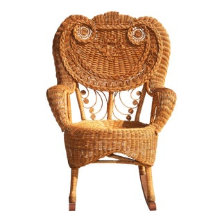 1970s Boho Chic Wicker Owl Rocking Chair
