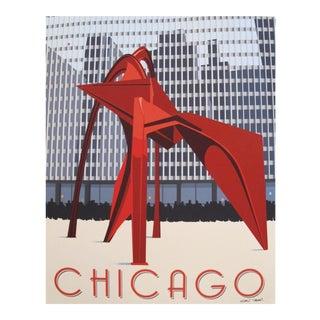 2019 Modern Retro Travel Poster, Chicago Flamingo Sculpture For Sale